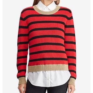 NWT Lauren Ralph Lauren Red Striped Sweater Small